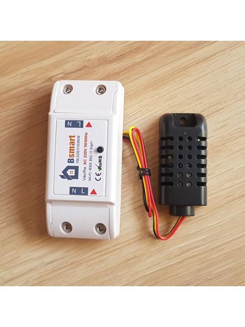 Điều khiển 1 kênh 220V + Cảm biến Nhiệt Độ / Độ Ẩm